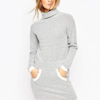 ASOS Dress in Knit with Front Pocket and Contrast Trims