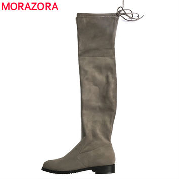 shop stretch suede the knee boots on wanelo