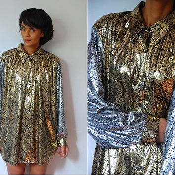 Vtg Gold & Silver Shiny Floral Slouchy Button Down LS Shirt