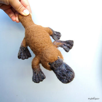 Platypus sculpture, needle felted, duck billed platypus, semiaquatic, Australian animal weird creatures, cute felt animal, posable sculpture