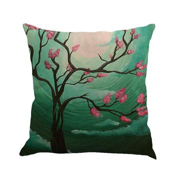 Tree Painting Linen Cushion Cover Throw Pillow Case Sofa Home Decor