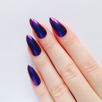 Blue Red Chrome Stiletto Nails Nail Designs Art S