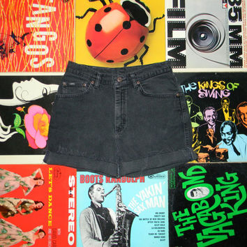 Vintage Denim Shorts, 90s LEE High Waisted Stone Washed Black Jean Cut Offs - Cut Off, Frayed, Rolled Up, Size 8 10 M Medium, ooak