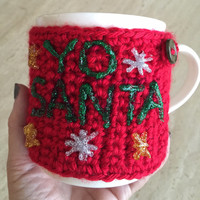 Handmade Crocheted Christmas Coffee Mug Cozy - Eco Friendly - Ugly Christmas Coffee Cozy - Holiday Coffee Accessories - Holiday Coffee Cozy