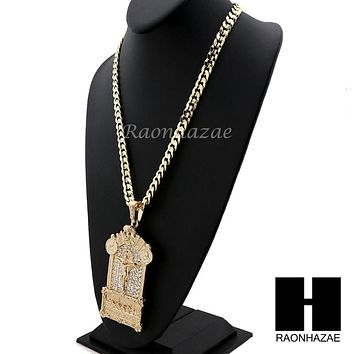 ICED OUT PRAYING HANDS CROSS LAST SUPPER PENDANT w/ DIAMOND CUT CUBAN LINK CHAIN