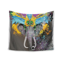 "Geordanna Cordero-Fields ""My Elephant with Headdress"" Gray Rainbow Wall Tapestry"