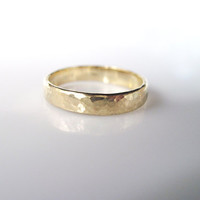 Hammered Gold Wedding Band - For Him Or Her - 14k Modern Gold Band - Hammered Texture Finish - Timeless Unique Wedding Ring - New designer