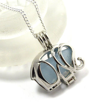 Silver Elephant Charm Necklace Pale Blue Sea Glass Locket