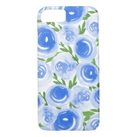 Watercolor Flowers - Blue Blooms Pretty Flowers iPhone 7 Case