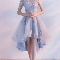 Customized High-Low Homecoming Prom Dress Short Light Blue Dresses With Lace Up Bandage Bateau Admirable Homecoming Dresses WF02G54-1304