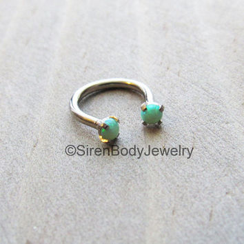 Opal septum ring lime green opals daith piercing earring 3mm prong set titanium internally threaded conch hoop ring hypoallergenic body ring