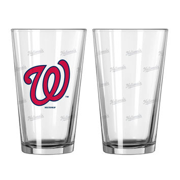 Washington Nationals Satin Etch Pint Glass Set