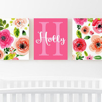 WATERCOLOR Floral Wall Art - Watercolor Flower Art - Watercolor Monogram Decor - Nursery Decor - Floral Artwork - Set of 3 Canvas or Print