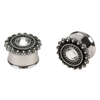 Steel CZ Center Filigree Plug 2 Pack