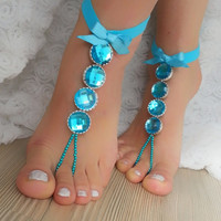 Smoked blue rhinestone anklet, FREE SHIP Beach wedding barefoot sandals, Steampunk, Beach Pool, Sexy, Yoga, Anklet , Bellydance
