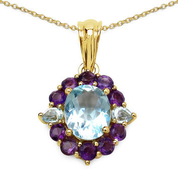 14K Yellow Gold Plated 3.91 Carat Genuine Blue Topaz & Amethyst .925 Sterling Silver Pendant