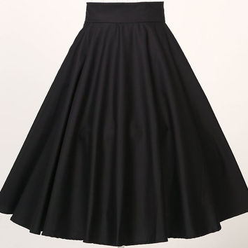 high waisted full circle swing black skirts vintage  rockabilly plus size clothing with pockets vestidos jupe uk online shopping