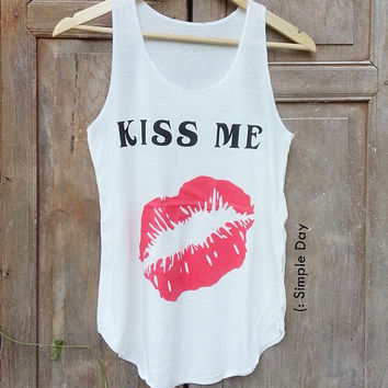 Kiss Me Tank Top Hipster Tank top Fitness top Summer Gift Summer fashion Vintage tank tops for woman Jack Daniels Wifey Bride kale Short