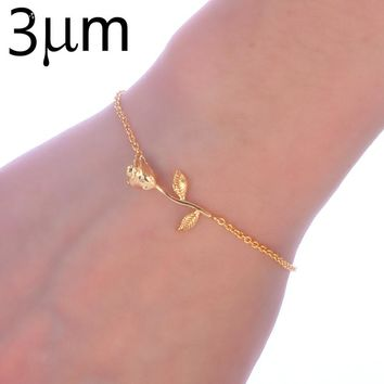 3UMeter Rose Bracelet Beauty and The Beast Forever Love Final Rose Flower Chain Bracelet for Women Wedding Bridal Jewelry Gift