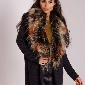 Missguided - Multi Colour Fur Collar Textured Rib Coat Black