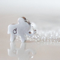 Custom Tiny Elephant Initial Necklace by RiverValleyJewelry