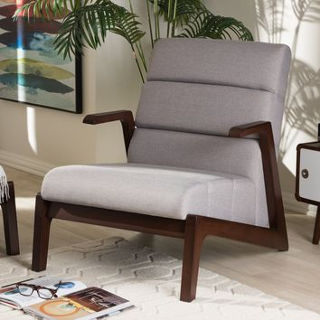 Baxton Studio Vino Mid-Century Modern Walnut Wood Grey Fabric Lounge Chair Set of 1