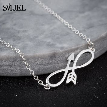 SMJEL Accessories Men's Arrow and Bow Pendant Necklace Silver Chain Punk Infinite Necklace Choker Best Friends Lover Gifts N317