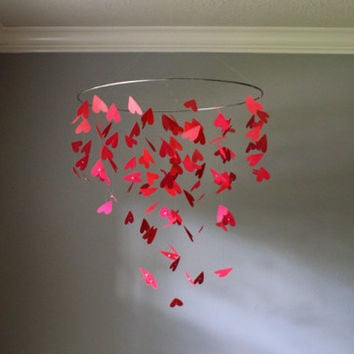 Large Falling Red Hearts Floating Mobile