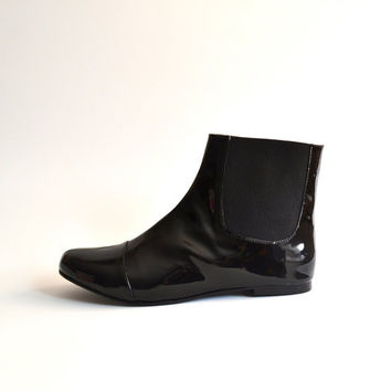 Jane Faux Leather Golden Chelsea Boot, Matte Black or Patent Leather