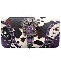 Animal Print: Cow Print w/Buckle Wallet