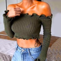 Extra Ruffle Off-the-Shoulder Crop Top