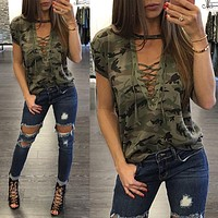 Fashion Women's Clothing Summer Ladies Short Sleeve Loose Blouse Casual Shirt Camouflage Colorful Tops