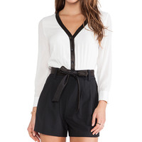 Alice + Olivia Baron Button Down Romper in Black & White