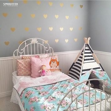 DIY 48pcs Little Hearts Wallpaper Removable Wall Decals Stickers For Living Room Baby Nursery Bedroom Home Decor Murals 56X30CM