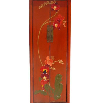 Chinese Orange Thick Oil Flower Graphic Narrow Cabinet cs367S