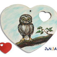 Wooden hand painted heart, Harry Potter, Owl, Hogwarts, Valentine gift, Art, Gift for Her, Gift for Him, Custom order, Jan Art
