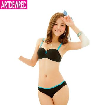2015 new push up women bra set cute 32 34 36 A B  cup young girl sexy lace cotton underwear suit free shipping