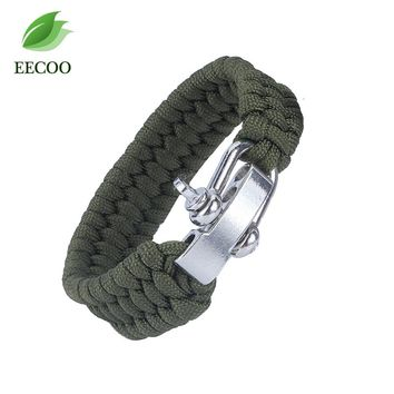 Adjustable Survival Paracord Bracelet with Stainless Steel Climbing Carabiner Buckle Camping Safety Wristband Black Army Green