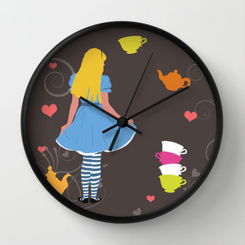 Alice in Wonderland tea party print Wall Clock by Bad English Cat