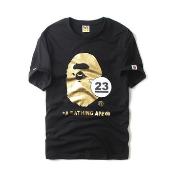 Bape Cartoons Print Short Sleeve Summer Cotton Bottoming Shirt [10262483027]