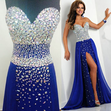 00dd20c07fe Tidetells Strapless Royal Blue Luxury Formal Long Prom Dresses Crystals  Chiffon Evening Gowns Side Slit Prom