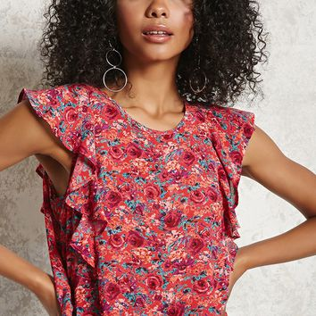 Floral Print Ruffle Top