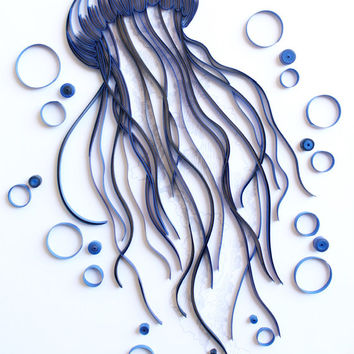 Jellyfish - Unique Paper Quilled Wall Art for Home Decor (paper quilling handcrafted art piece made with love by an artist in California)
