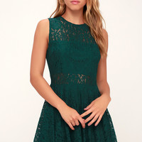 Everleigh Forest Green Lace Skater Dress