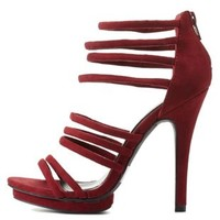 Burgundy Strappy Caged Heels by Charlotte Russe