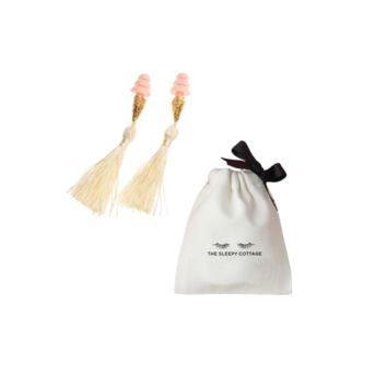 BREAKFAST AT TIFFANY'S IVORY TASSEL SLEEPING EARPLUGS IN PINK