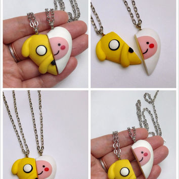 GUO GUO'S - The Original Adventure Time Heart Necklace / Finn and Jake BFF Set /  Key Chain / Brooch /Made to order