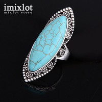 Vintage Look Tibetan Alloy Antique Silver Plated Bohemian Style Flower Oval Turquoise Bead Ring