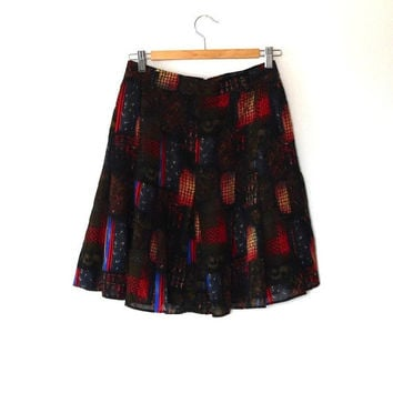 Abstract print black checked skirt / red / blue / khaki / vintage / 1980s / herring bone / stripe / semi-sheer / lined / short flared skirt