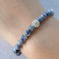 Sodalite bracelet, blue yoga bracelet, boho shambala blue beaded stretch stacking bracelet, Christmas gift idea, blue bracelet, gift for her